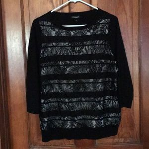 Black dressy top with lace front